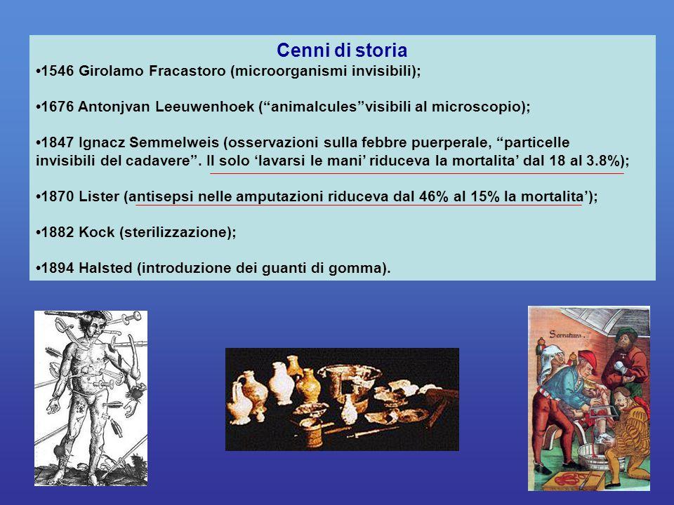 """1546 Girolamo Fracastoro (microorganismi invisibili); 1676 Antonjvan Leeuwenhoek (""""animalcules""""visibili al microscopio); 1847 Ignacz Semmelweis (osser"""