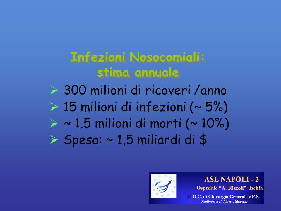 Infezioni Nosocomiali: stima annuale  300 milioni di ricoveri /anno  15 milioni di infezioni (~ 5%)  ~ 1.5 milioni di morti (~ 10%)  Spesa: ~ 1,5 miliardi di $