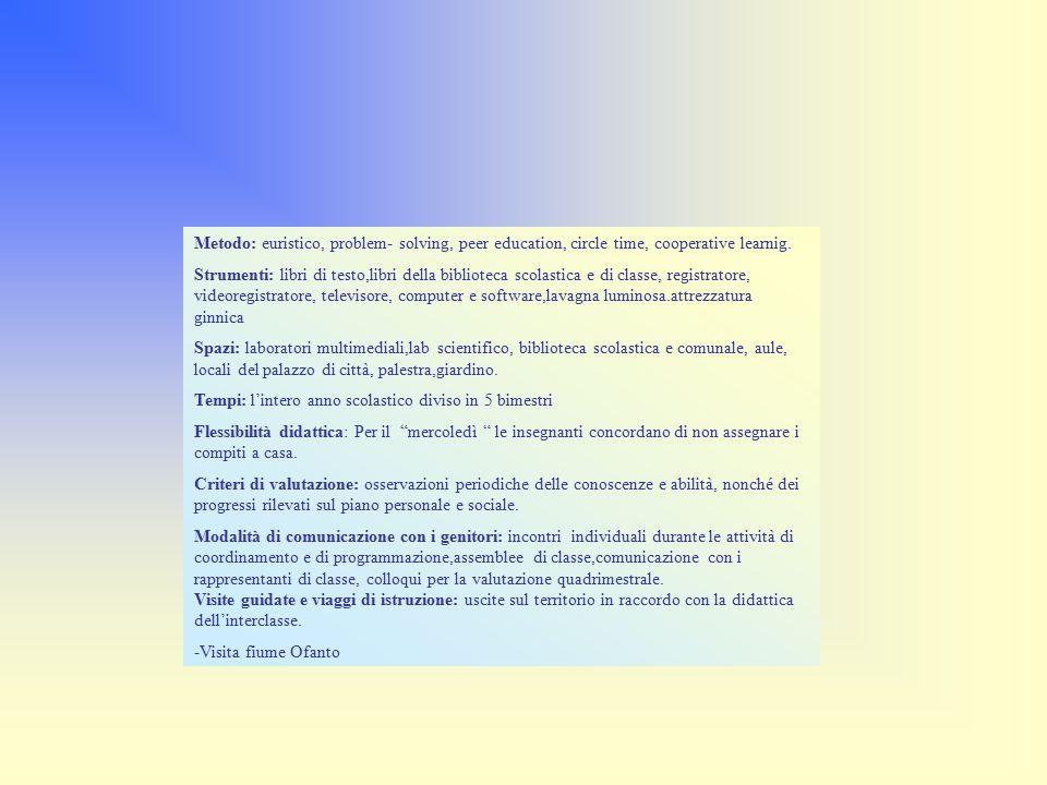 Metodo: euristico, problem- solving, peer education, circle time, cooperative learnig.