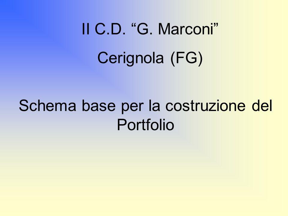 Schema base per la costruzione del Portfolio II C.D. G. Marconi Cerignola (FG)
