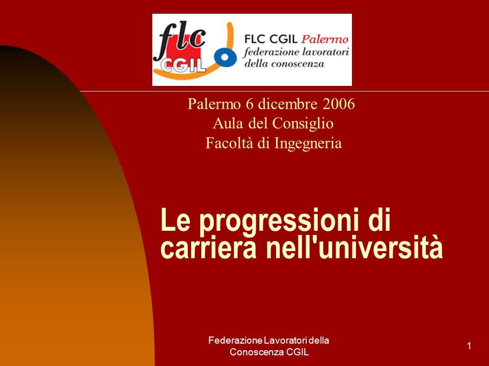 Federazione Lavoratori della Conoscenza CGIL 1 Le progressioni di carriera nell università Palermo 6 dicembre 2006 Aula del Consiglio Facoltà di Ingegneria
