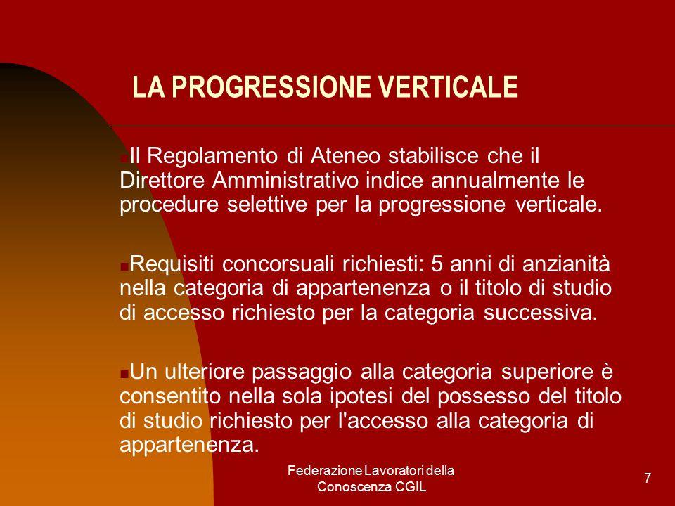 Federazione Lavoratori della Conoscenza CGIL 7 LA PROGRESSIONE VERTICALE Il Regolamento di Ateneo stabilisce che il Direttore Amministrativo indice annualmente le procedure selettive per la progressione verticale.