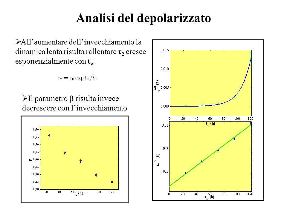 Analisi del depolarizzato  All'aumentare dell'invecchiamento la dinamica lenta risulta rallentare  2 cresce esponenzialmente con t w  Il parametro  risulta invece decrescere con l'invecchiamento