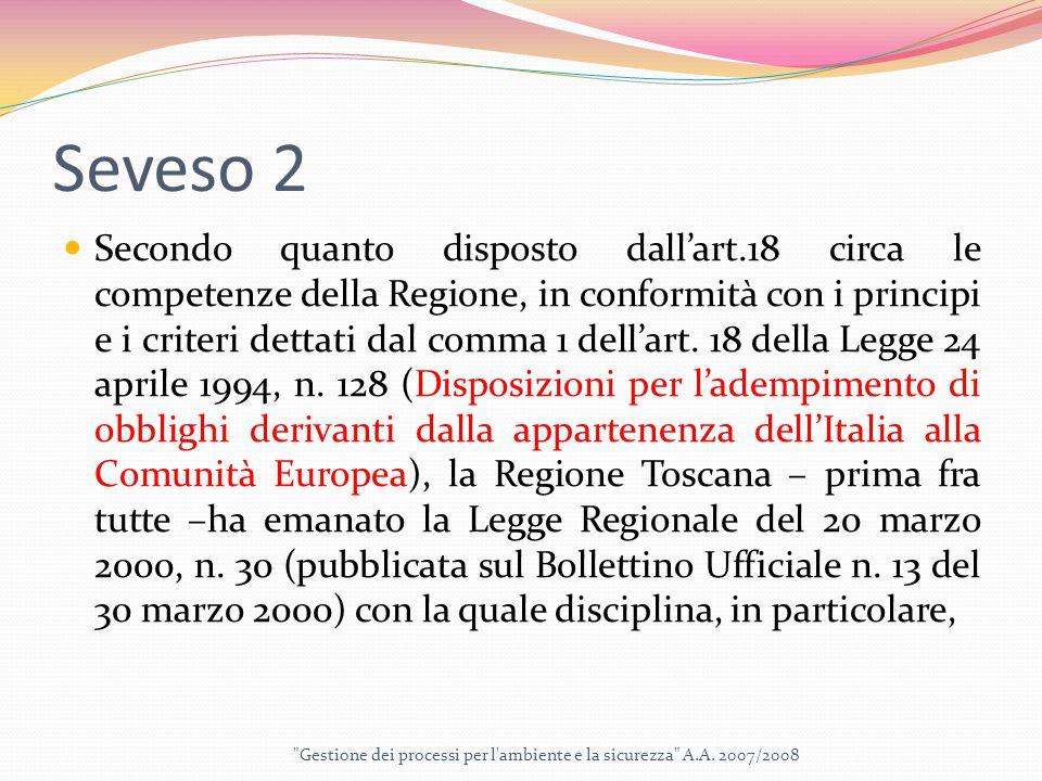 Seveso 2 Secondo quanto disposto dall'art.18 circa le competenze della Regione, in conformità con i principi e i criteri dettati dal comma 1 dell'art.