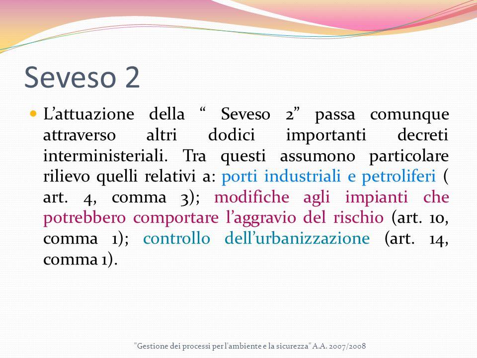 Seveso 2 L'attuazione della Seveso 2 passa comunque attraverso altri dodici importanti decreti interministeriali.