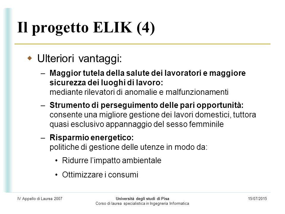 15/07/2015 Università degli studi di Pisa Corso di laurea specialistica in Ingegneria Informatica IV Appello di Laurea 2007 Il progetto ELIK (4)  Ult