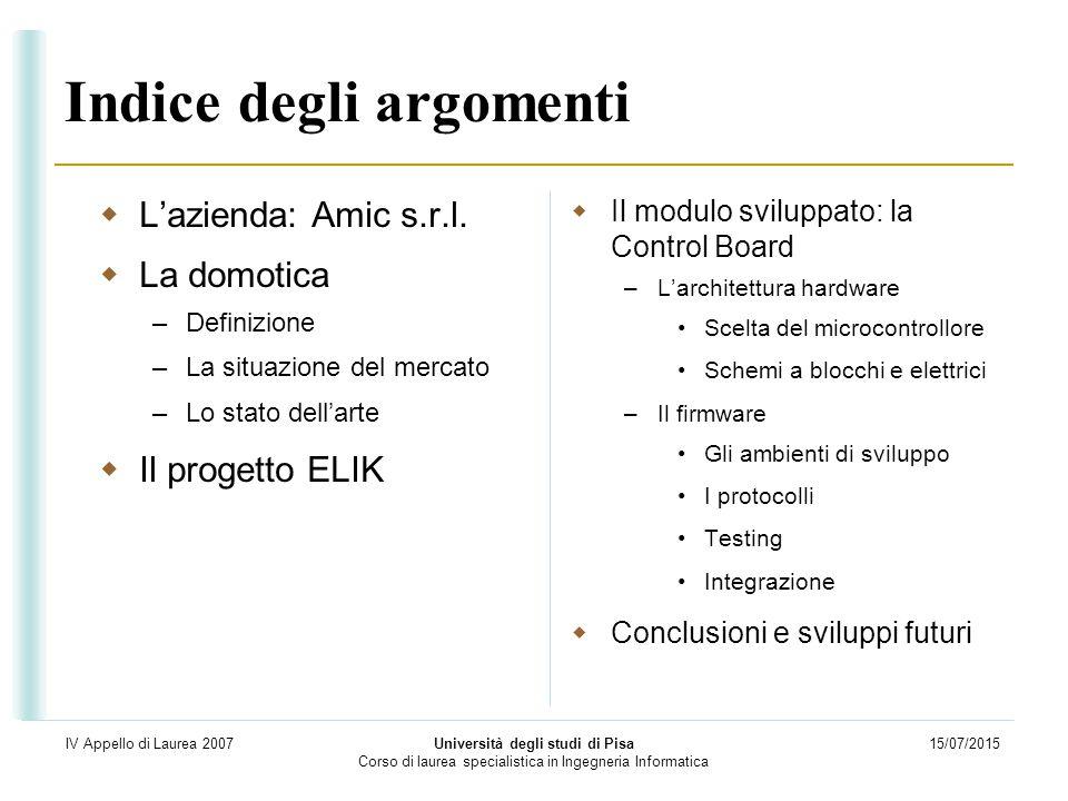 15/07/2015 Università degli studi di Pisa Corso di laurea specialistica in Ingegneria Informatica IV Appello di Laurea 2007 Indice degli argomenti  L