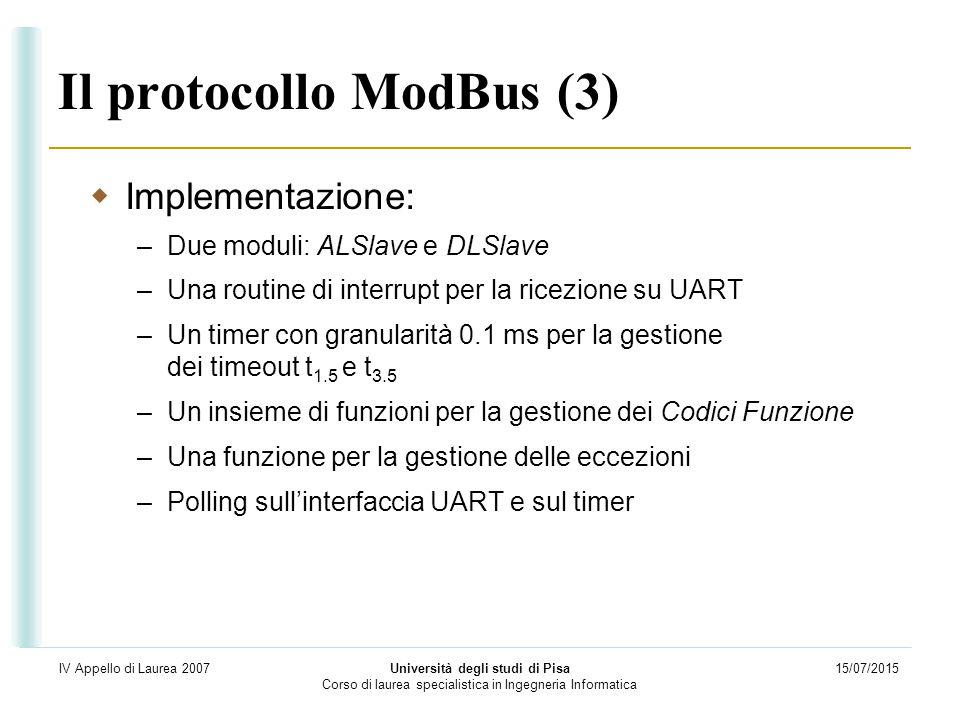 15/07/2015 Università degli studi di Pisa Corso di laurea specialistica in Ingegneria Informatica IV Appello di Laurea 2007 Il protocollo ModBus (3) 