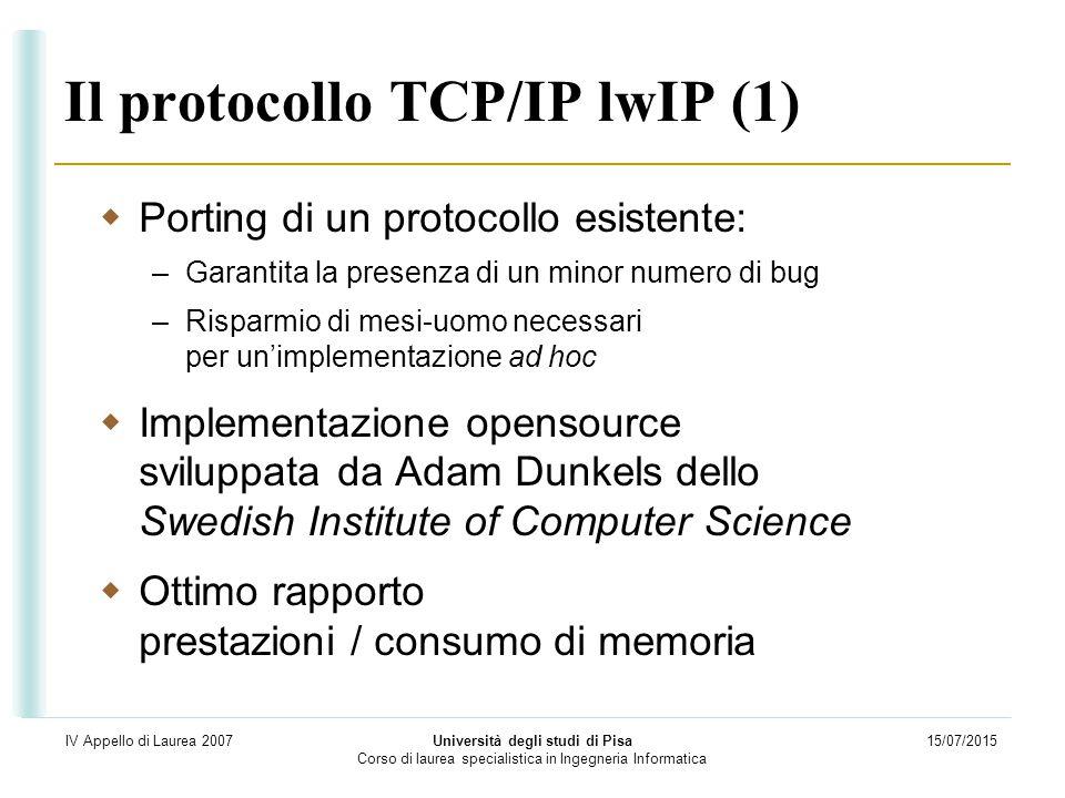 15/07/2015 Università degli studi di Pisa Corso di laurea specialistica in Ingegneria Informatica IV Appello di Laurea 2007 Il protocollo TCP/IP lwIP