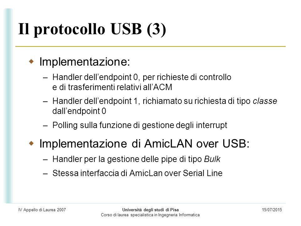 15/07/2015 Università degli studi di Pisa Corso di laurea specialistica in Ingegneria Informatica IV Appello di Laurea 2007 Il protocollo USB (3)  Im