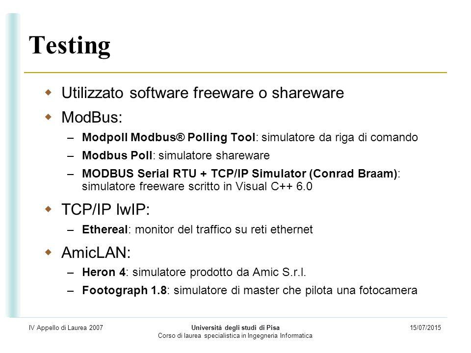 15/07/2015 Università degli studi di Pisa Corso di laurea specialistica in Ingegneria Informatica IV Appello di Laurea 2007 Testing  Utilizzato softw