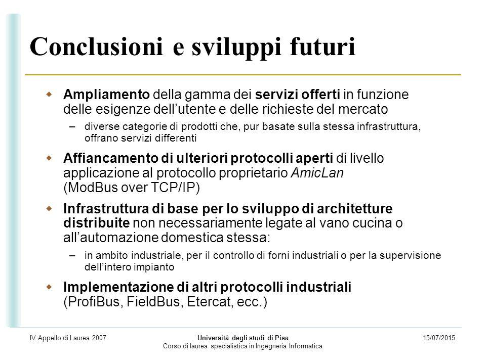 15/07/2015 Università degli studi di Pisa Corso di laurea specialistica in Ingegneria Informatica IV Appello di Laurea 2007 Conclusioni e sviluppi fut