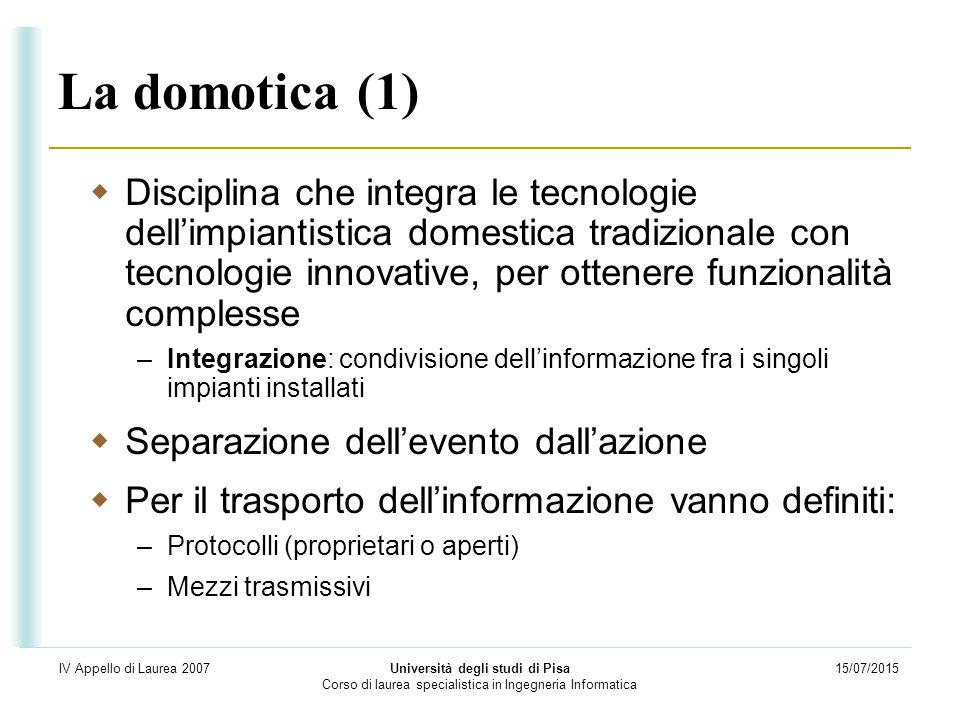 15/07/2015 Università degli studi di Pisa Corso di laurea specialistica in Ingegneria Informatica IV Appello di Laurea 2007 La domotica (1)  Discipli