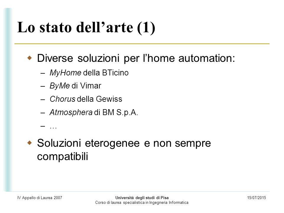 15/07/2015 Università degli studi di Pisa Corso di laurea specialistica in Ingegneria Informatica IV Appello di Laurea 2007 Lo stato dell'arte (1)  D