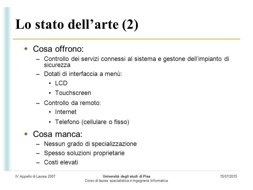 15/07/2015 Università degli studi di Pisa Corso di laurea specialistica in Ingegneria Informatica IV Appello di Laurea 2007 Lo stato dell'arte (2)  C