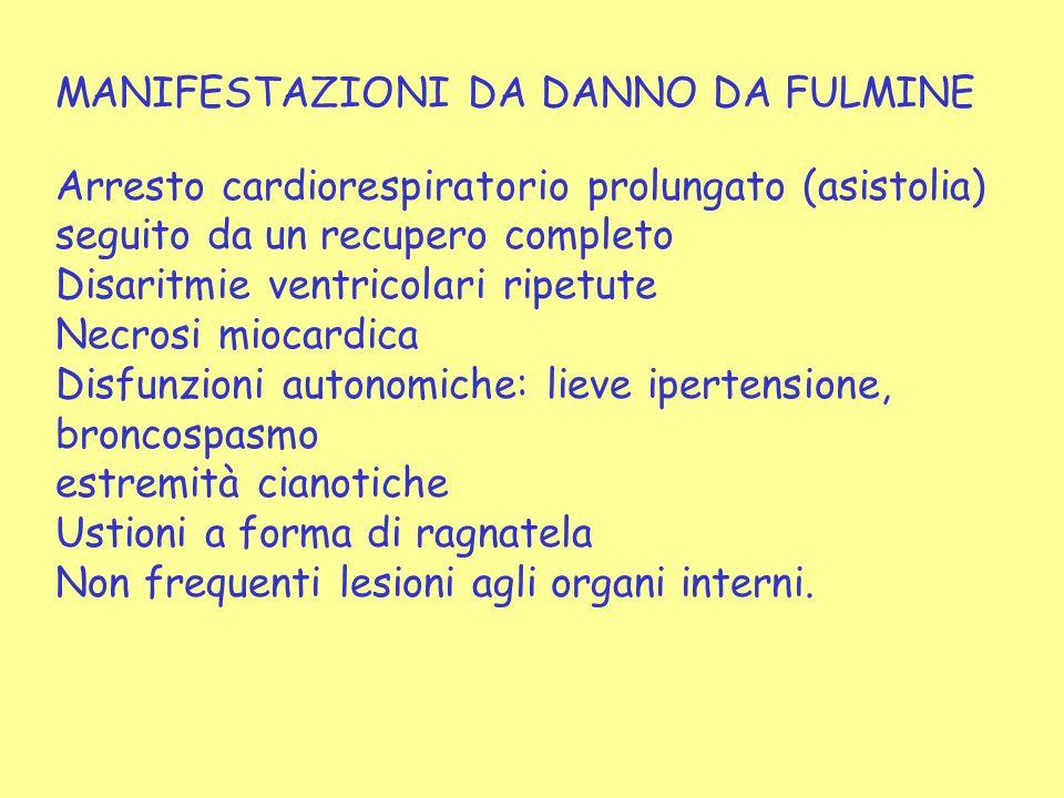 MANIFESTAZIONI DA DANNO DA FULMINE Arresto cardiorespiratorio prolungato (asistolia) seguito da un recupero completo Disaritmie ventricolari ripetute
