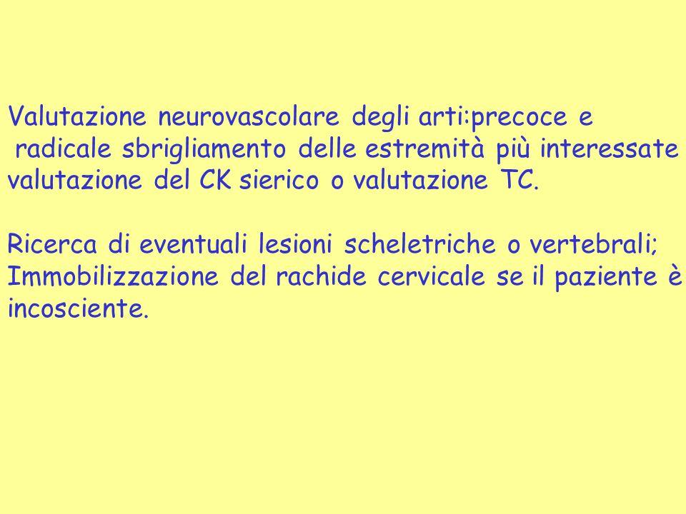 Valutazione neurovascolare degli arti:precoce e radicale sbrigliamento delle estremità più interessate valutazione del CK sierico o valutazione TC. Ri