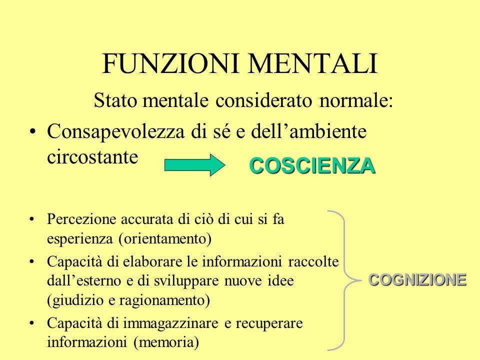 FUNZIONI MENTALI Stato mentale considerato normale: Consapevolezza di sé e dell'ambiente circostante Percezione accurata di ciò di cui si fa esperienz