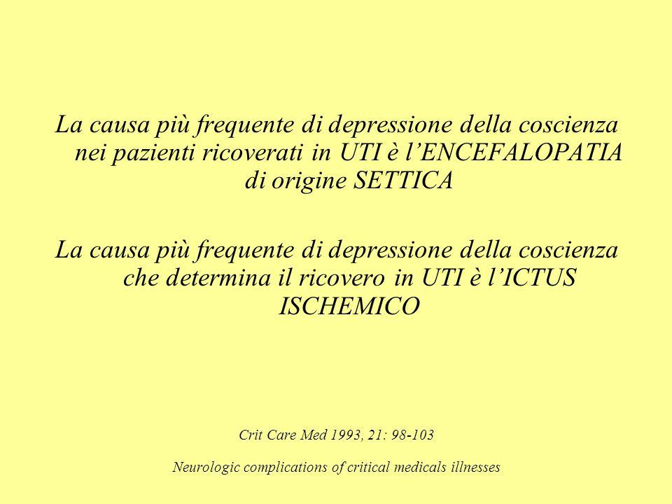 La causa più frequente di depressione della coscienza nei pazienti ricoverati in UTI è l'ENCEFALOPATIA di origine SETTICA La causa più frequente di de