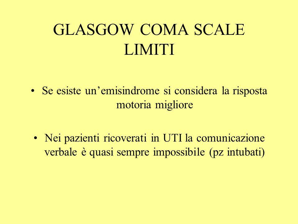 GLASGOW COMA SCALE LIMITI Se esiste un'emisindrome si considera la risposta motoria migliore Nei pazienti ricoverati in UTI la comunicazione verbale è