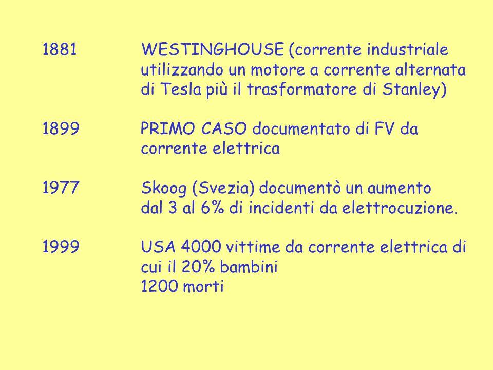 1881WESTINGHOUSE (corrente industriale utilizzando un motore a corrente alternata di Tesla più il trasformatore di Stanley) 1899PRIMO CASO documentato