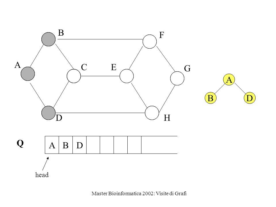 Master Bioinformatica 2002: Visite di Grafi A B C D E F G H Q head ABD A BD