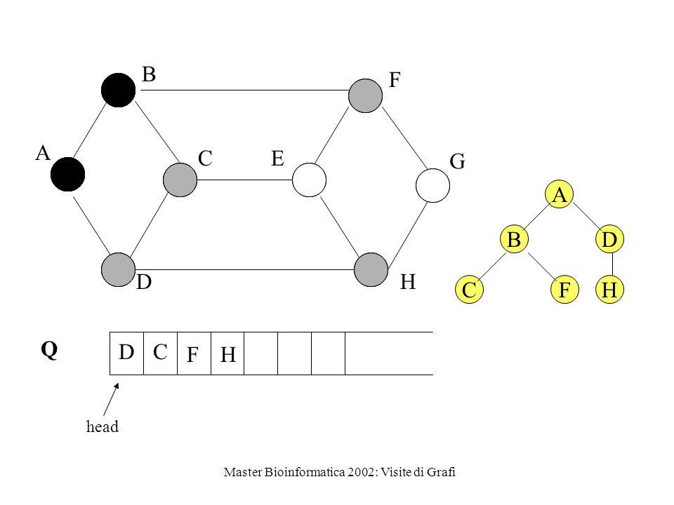Master Bioinformatica 2002: Visite di Grafi Q head A B C D E F G H F DC H A BD CF H