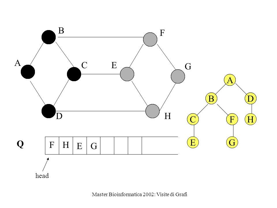 Master Bioinformatica 2002: Visite di Grafi Q head A B C D E F G H E FH G A BD CFH A BD CF E G