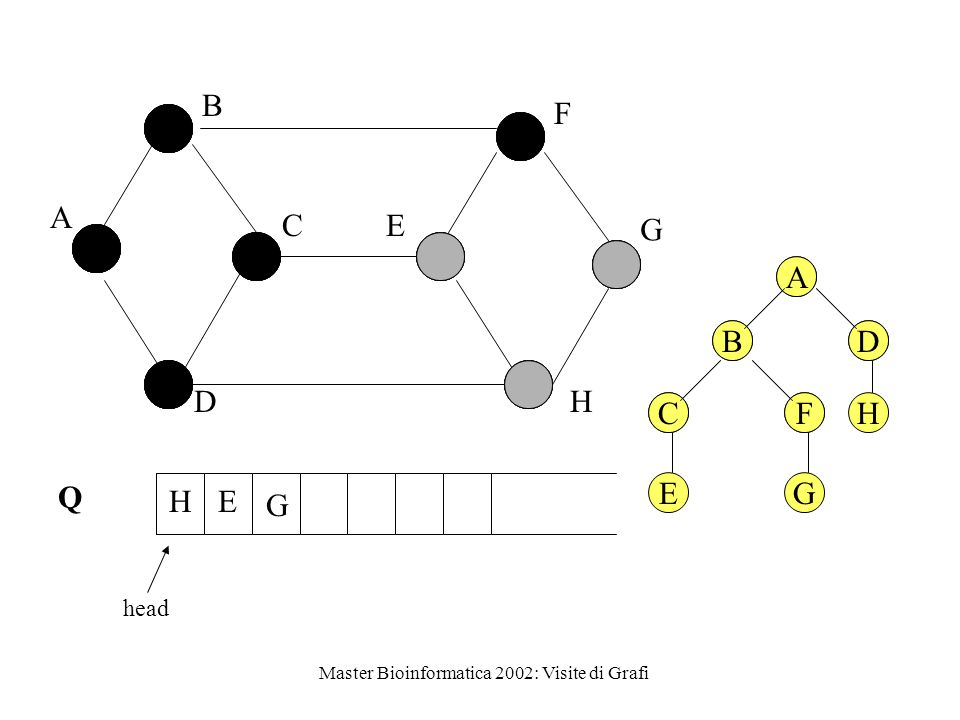 Master Bioinformatica 2002: Visite di Grafi Q head A B C D E F G H G HE A BD CFH A BD CF EG