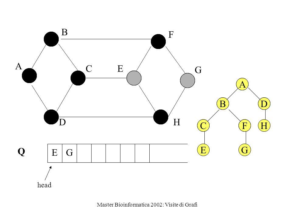 Master Bioinformatica 2002: Visite di Grafi Q head A B C D E F G H EG A BD CFH A BD CF EG