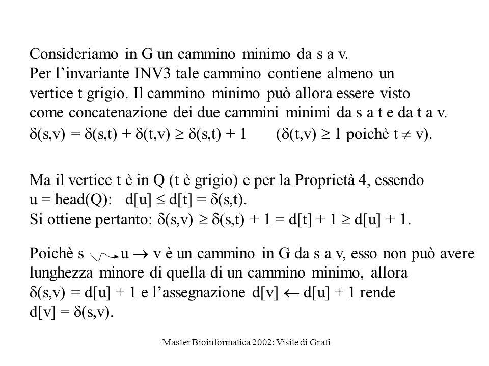 Master Bioinformatica 2002: Visite di Grafi Consideriamo in G un cammino minimo da s a v.