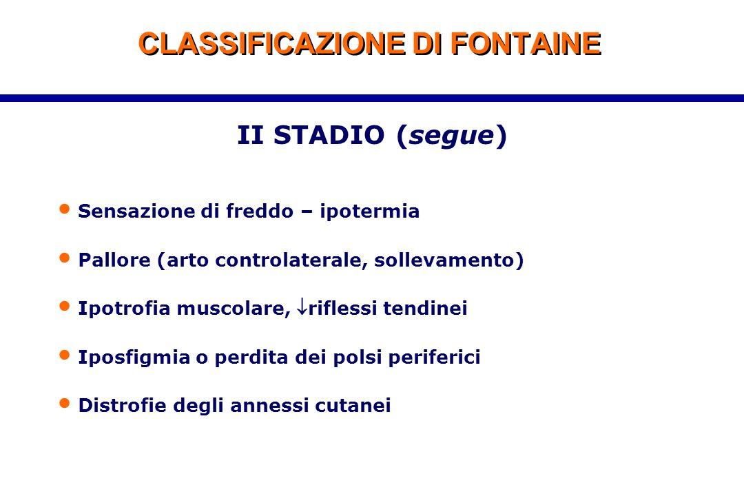 CLASSIFICAZIONE DI FONTAINE II STADIO (segue) Sensazione di freddo – ipotermia Pallore (arto controlaterale, sollevamento) Ipotrofia muscolare, rifle