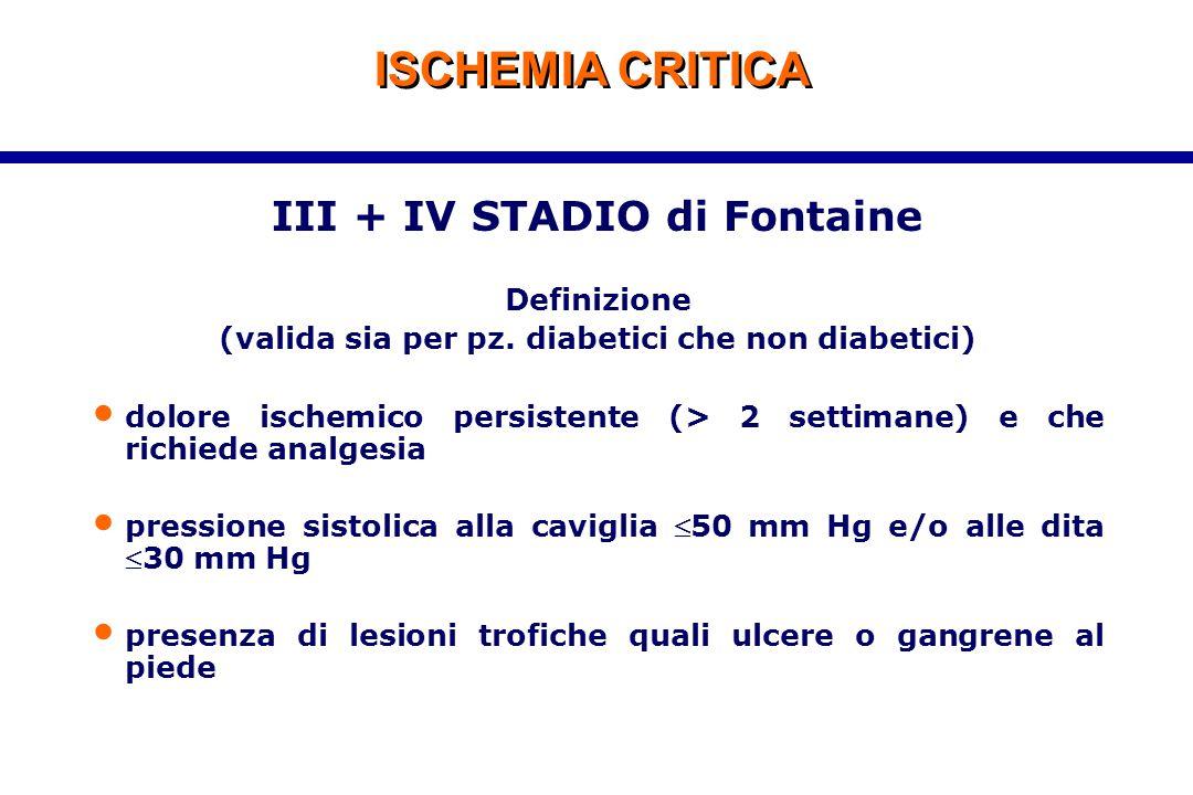 ISCHEMIA CRITICA III + IV STADIO di Fontaine Definizione (valida sia per pz. diabetici che non diabetici) dolore ischemico persistente (> 2 settimane)