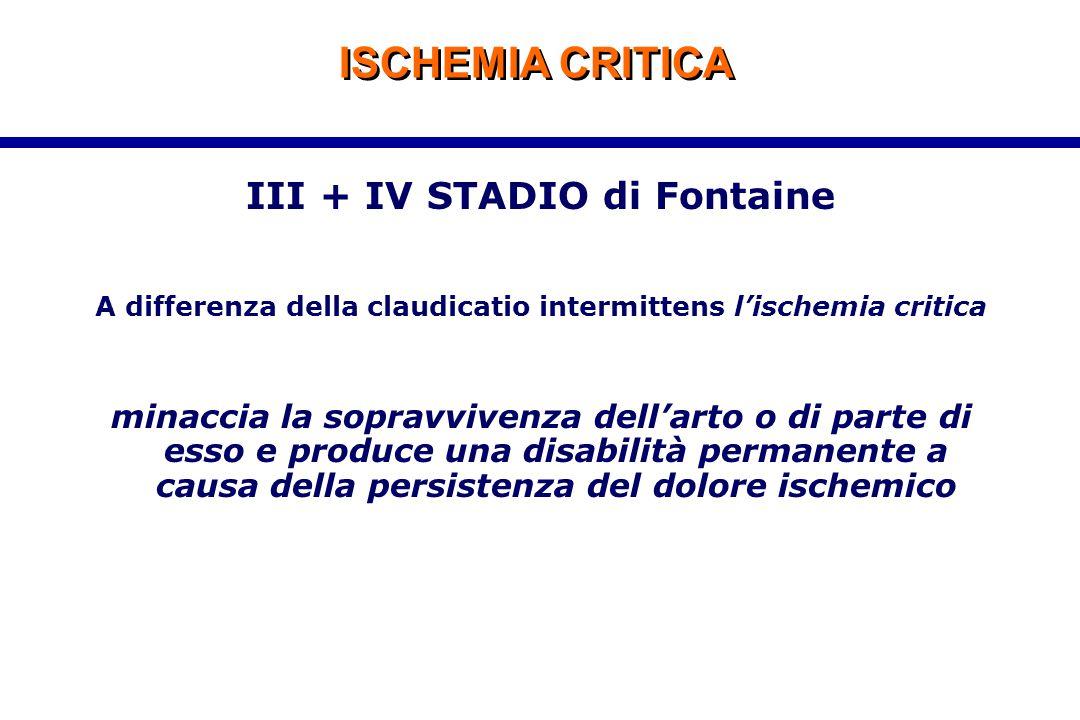 ISCHEMIA CRITICA III + IV STADIO di Fontaine A differenza della claudicatio intermittens l'ischemia critica minaccia la sopravvivenza dell'arto o di p