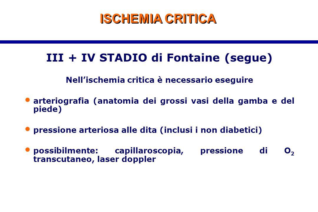 ISCHEMIA CRITICA III + IV STADIO di Fontaine (segue) Nell'ischemia critica è necessario eseguire arteriografia (anatomia dei grossi vasi della gamba e