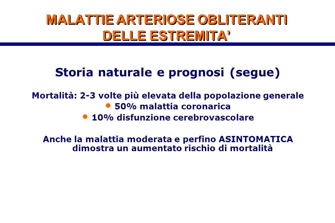 MALATTIE ARTERIOSE OBLITERANTI DELLE ESTREMITA' Storia naturale e prognosi (segue) Mortalità: 2-3 volte più elevata della popolazione generale 50% mal