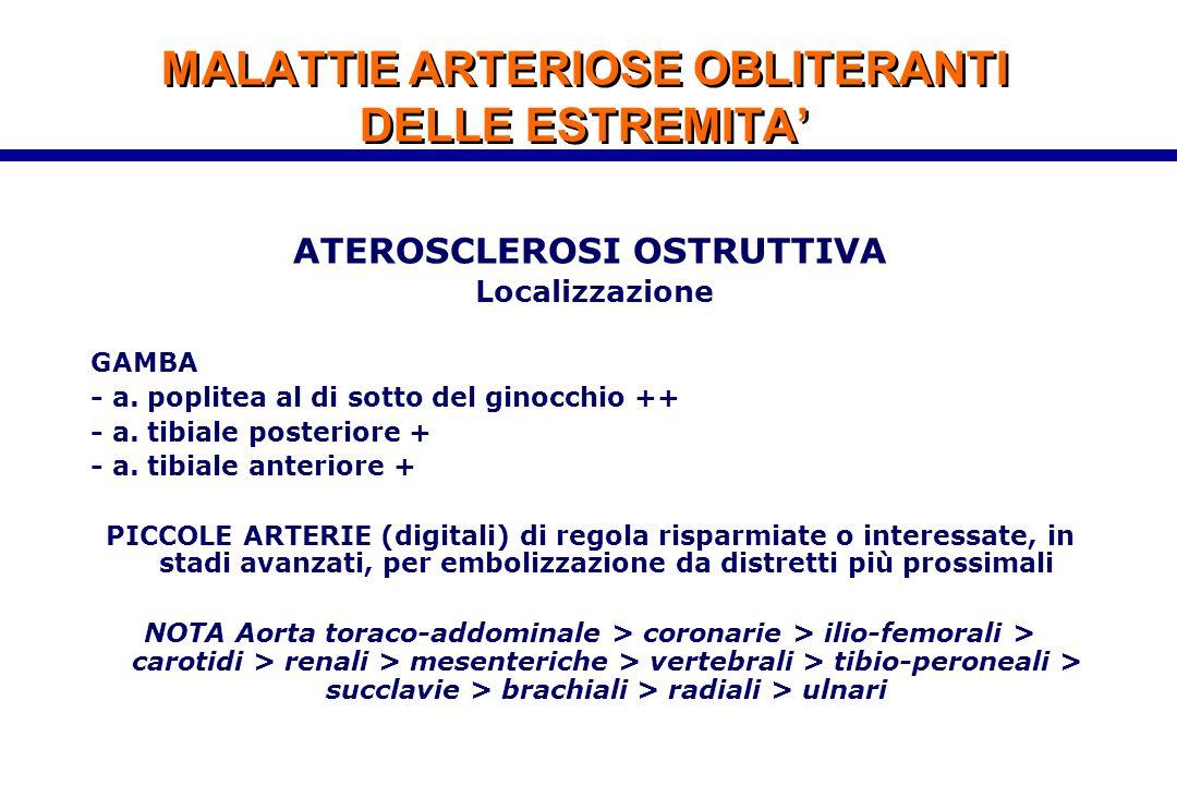 MALATTIE ARTERIOSE OBLITERANTI DELLE ESTREMITA' ATEROSCLEROSI OSTRUTTIVA Localizzazione GAMBA - a. poplitea al di sotto del ginocchio ++ - a. tibiale