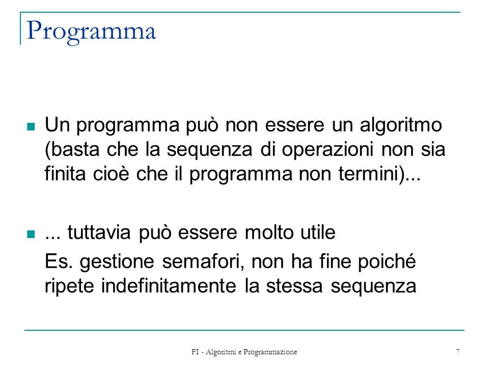 FI - Algoritmi e Programmazione 8 Esecuzione L'esecuzione delle azioni nell'ordine specificato dall'algoritmo consente di ottenere i risultati che risolvono il problema a partire dai dati in ingresso Problema:  algoritmo  programma Metodo risolutivo Codifica in un linguaggio di programmazione