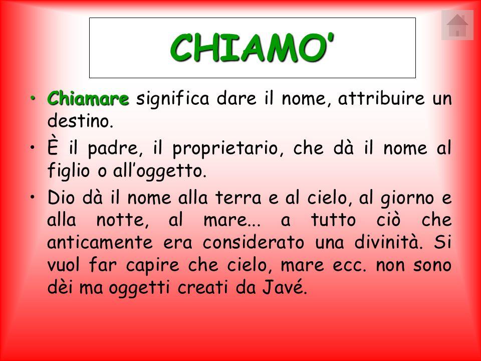 CHIAMO' ChiamareChiamare significa dare il nome, attribuire un destino. È il padre, il proprietario, che dà il nome al figlio o all'oggetto. Dio dà il