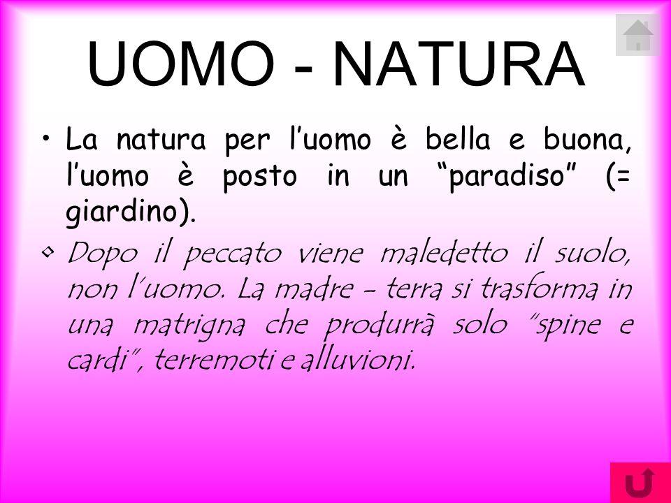 """UOMO - NATURA La natura per l'uomo è bella e buona, l'uomo è posto in un """"paradiso"""" (= giardino). Dopo il peccato viene maledetto il suolo, non l'uomo"""