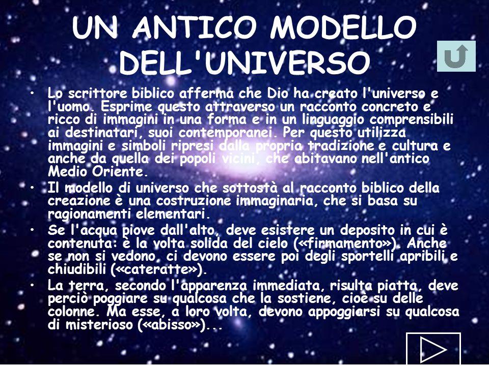 UN ANTICO MODELLO DELL'UNIVERSO Lo scrittore biblico afferma che Dio ha creato l'universo e l'uomo. Esprime questo attraverso un racconto concreto e r