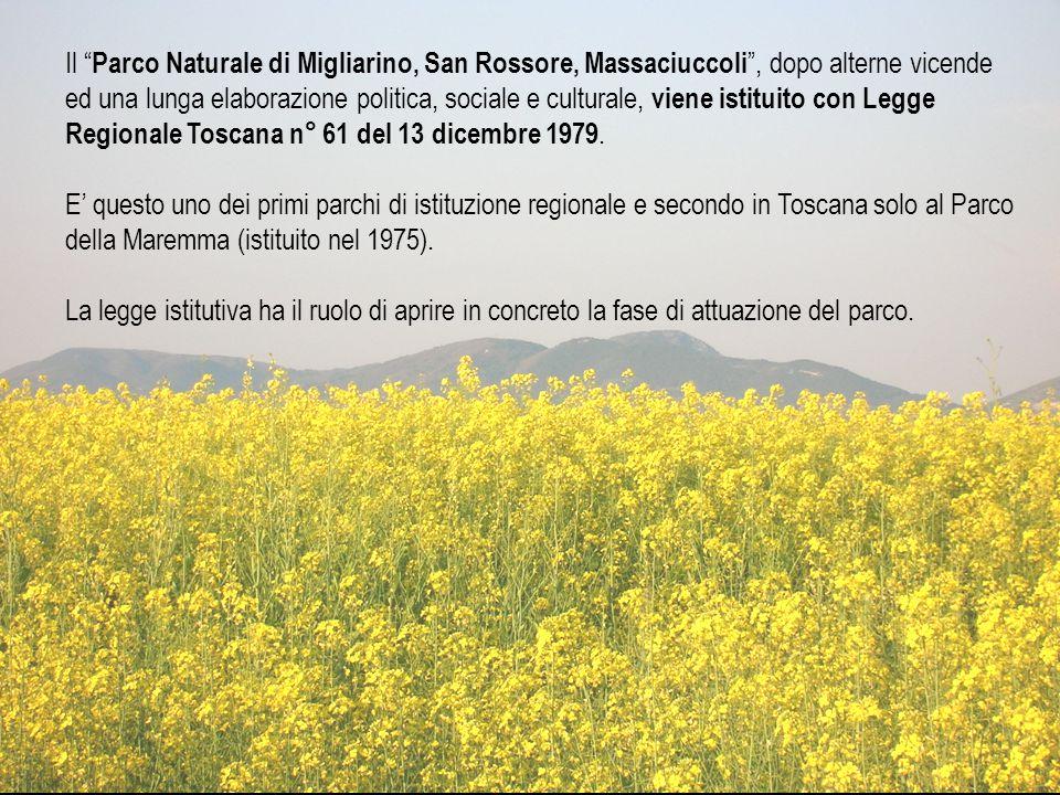 Il Parco Naturale di Migliarino, San Rossore, Massaciuccoli , dopo alterne vicende ed una lunga elaborazione politica, sociale e culturale, viene istituito con Legge Regionale Toscana n° 61 del 13 dicembre 1979.