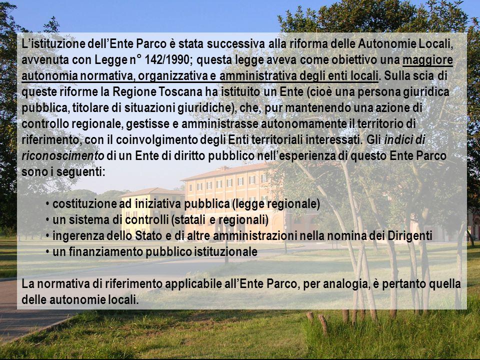 L'istituzione dell'Ente Parco è stata successiva alla riforma delle Autonomie Locali, avvenuta con Legge n° 142/1990; questa legge aveva come obiettivo una maggiore autonomia normativa, organizzativa e amministrativa degli enti locali.