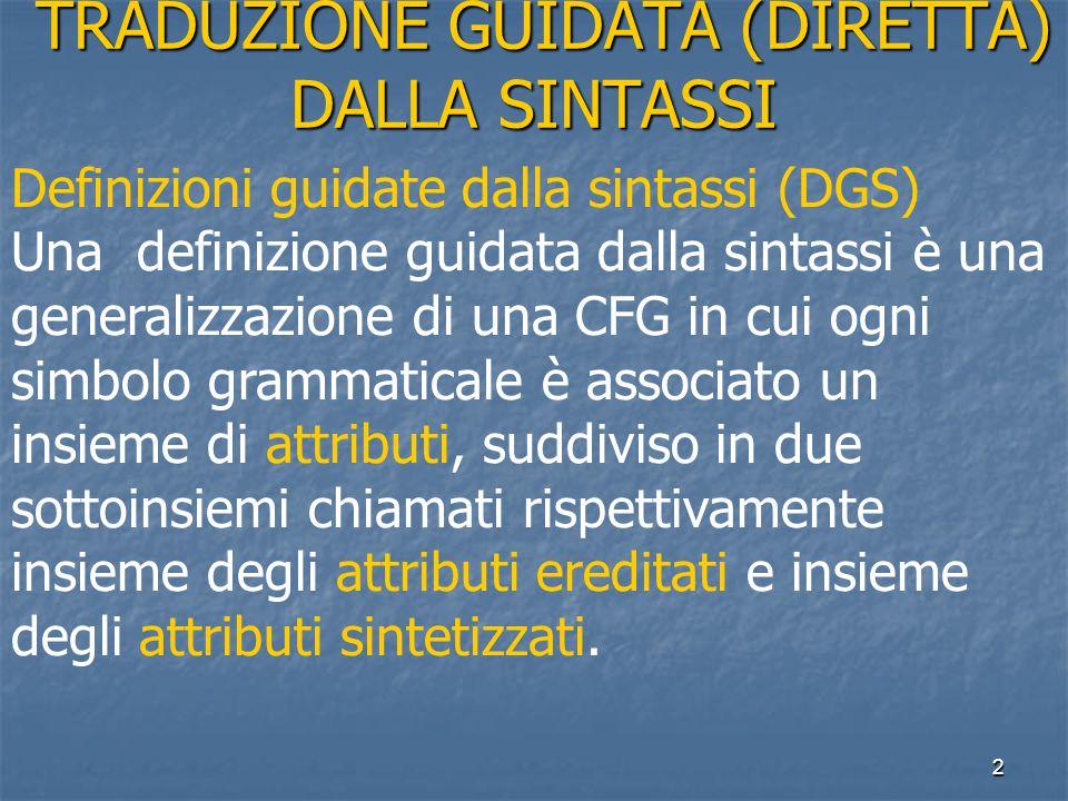 2 TRADUZIONE GUIDATA (DIRETTA) DALLA SINTASSI TRADUZIONE GUIDATA (DIRETTA) DALLA SINTASSI Definizioni guidate dalla sintassi (DGS) Una definizione gui