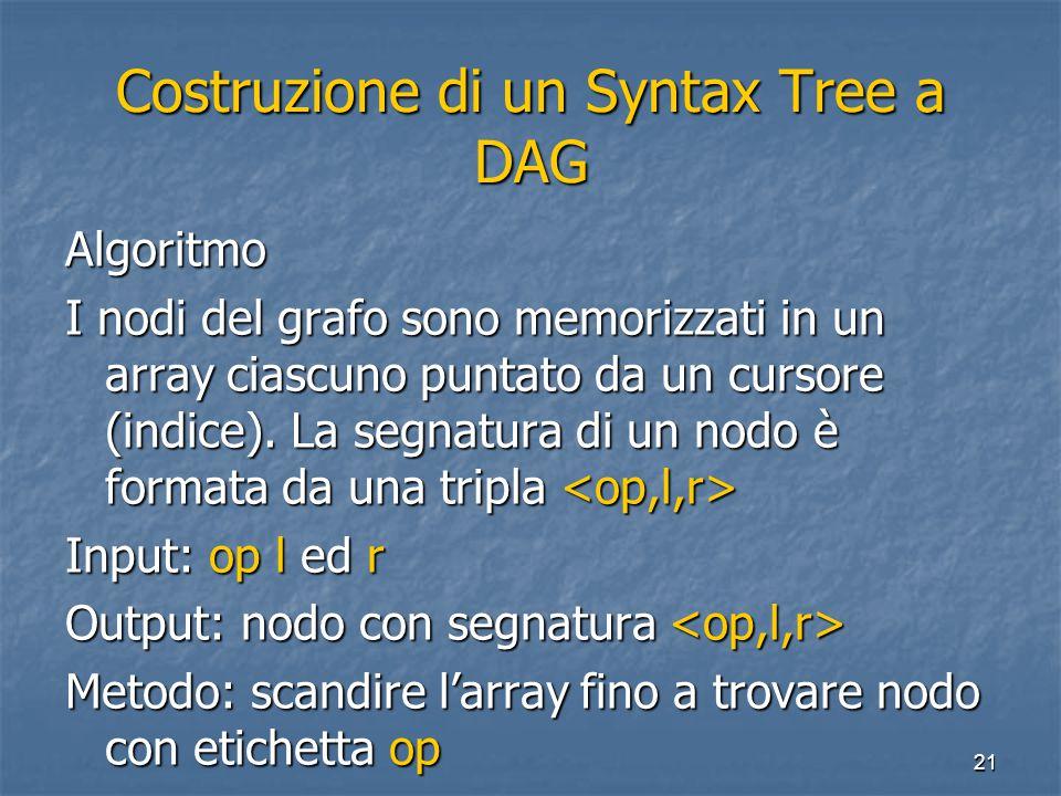 21 Costruzione di un Syntax Tree a DAG Algoritmo I nodi del grafo sono memorizzati in un array ciascuno puntato da un cursore (indice). La segnatura d