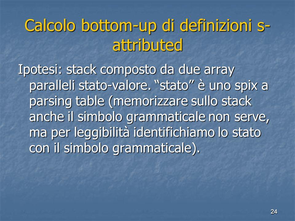 """24 Calcolo bottom-up di definizioni s- attributed Ipotesi: stack composto da due array paralleli stato-valore. """"stato"""" è uno spix a parsing table (mem"""