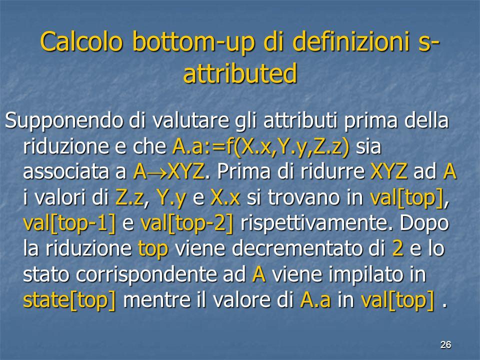 26 Calcolo bottom-up di definizioni s- attributed Supponendo di valutare gli attributi prima della riduzione e che A.a:=f(X.x,Y.y,Z.z) sia associata a