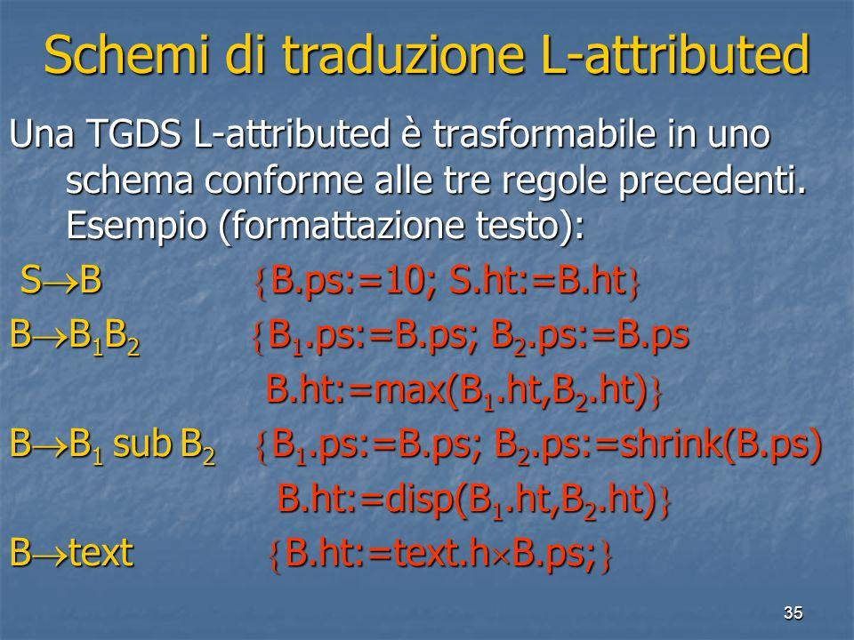 35 Schemi di traduzione L-attributed Una TGDS L-attributed è trasformabile in uno schema conforme alle tre regole precedenti. Esempio (formattazione t