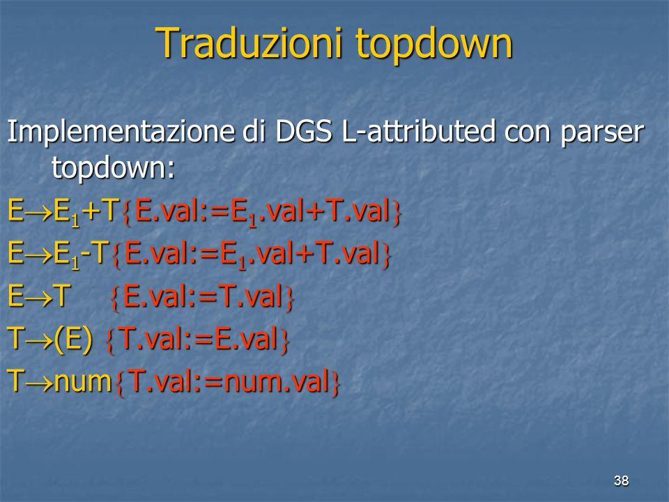 38 Traduzioni topdown Implementazione di DGS L-attributed con parser topdown: E  E 1 +T  E.val:=E 1.val+T.val  E  E 1 -T  E.val:=E 1.val+T.val  E  T  E.val:=T.val  T  (E)  T.val:=E.val  T  num  T.val:=num.val 