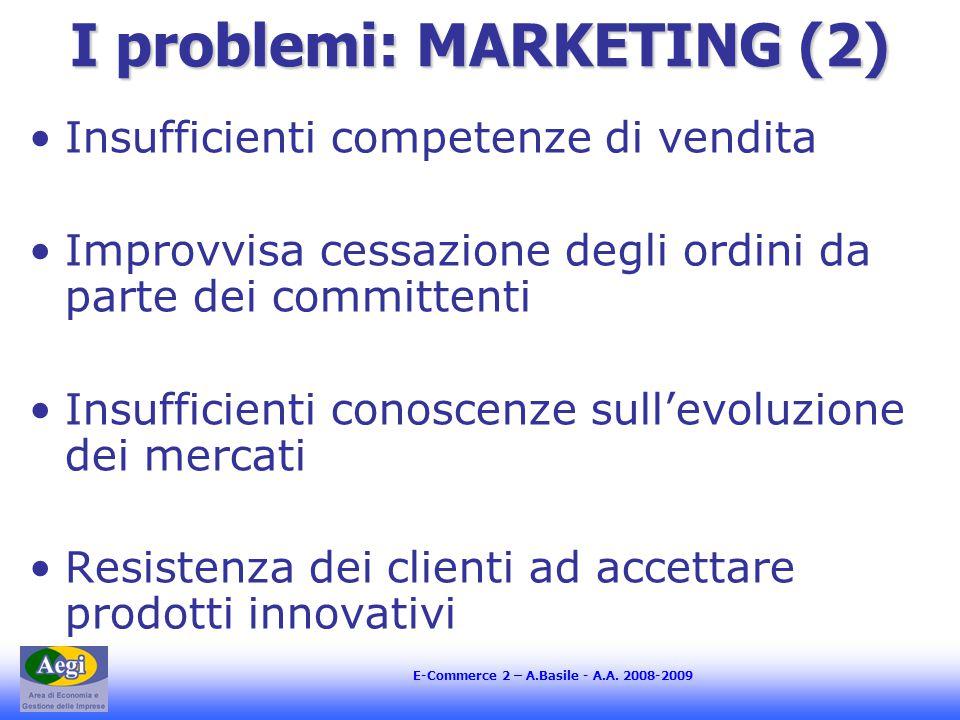 E-Commerce 2 – A.Basile - A.A. 2008-2009 I problemi: MARKETING (2) Insufficienti competenze di vendita Improvvisa cessazione degli ordini da parte dei